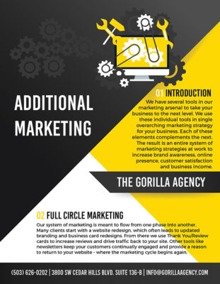 Additional Marketing Services Brochure | The Gorilla Agency