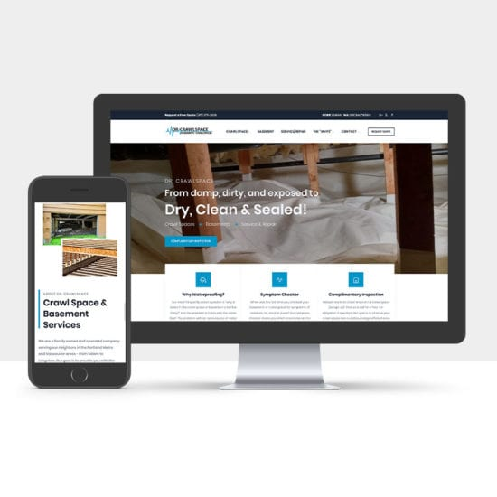 Portfolio: Responsive desktop and mobile display of Dr.Crawlspace website