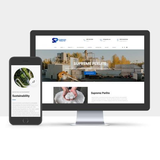 Portfolio: Responsive desktop and mobile display of Supreme Perlite's website