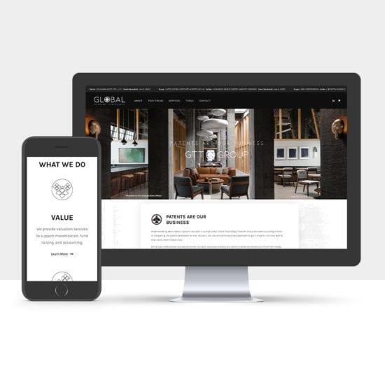 Portfolio: Responsive desktop and mobile display of GTT Group website